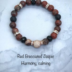 Red Brecciated Jasper Bracelet With Pave Ball