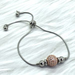 Slide Bracelet Silver With Rose Gold Pave Ball