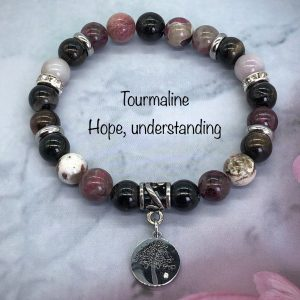 Mixed Tourmaline Bracelet With Tree Charm