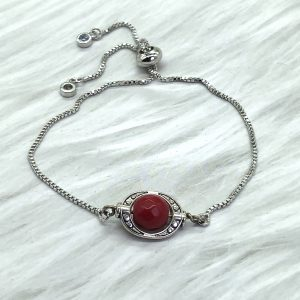 Slide Bracelet Silver With Red Coral Stone