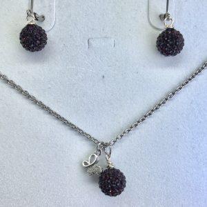 Crystal Ball Crystal Necklace Dark Amethyst