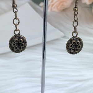 Antique Bronze Disk Drop Earrings