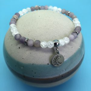 Purple Lilac Jade Anklet With Round Leaf Charm