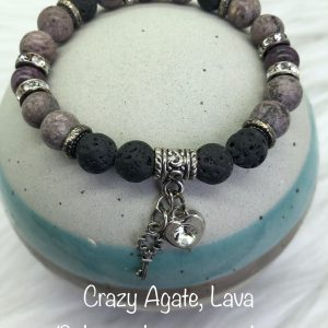 Crazy Agate and Lava Diffuser Bracelet with Heart and Key Charms