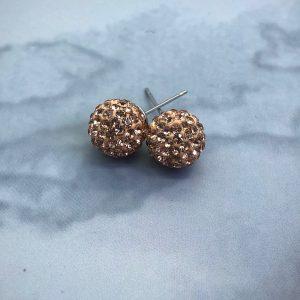 Crystal Ball 10mm Earrings Rose Gold
