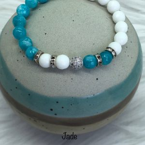 White And Blue Jade Bracelet With Crystal Ball
