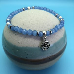 Blue Cats Eye Anklet With Tree Of Life Charm