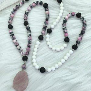 Rose Quartz, Jade, Tridacna and Lava Mala