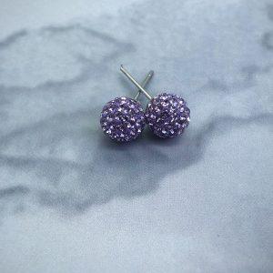 Crystal Ball 8mm Earrings Violet