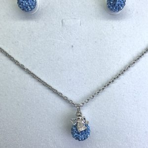 Crystal Ball Crystal Necklace Light Sapphire
