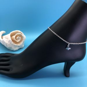 Chain Anklet With Silver Butterfly Charm