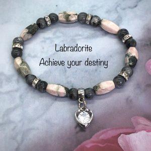 Labradorite Bracelet With Heart Charm