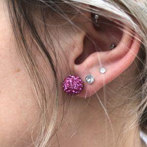 Crystal Ball 10mm Earrings Fushia