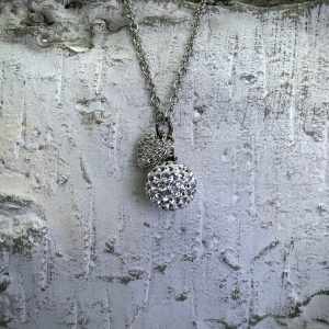 Crystal Ball Crystal Necklace With Heart Charm