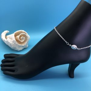 Chain Anklet With Oblong Silver Accent