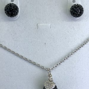 Crystal Ball Crystal Necklace Jet Black