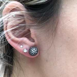Pave Ball 10mm Earrings Black