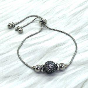 Slide Bracelet Silver With Black Pave Ball