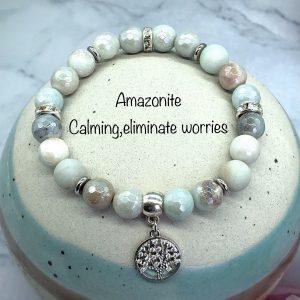 Amazonite Bracelet With Tree Of Life Charm