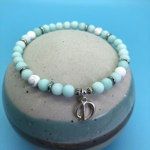 Amazonite Anklet With Initial Charm