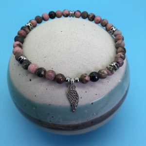 Rhodonite Anklet With Angel Wing Charm
