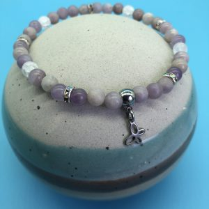 Purple Lilac Jade Anklet With Butterfly Charm