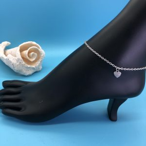 Chain Anklet With Silver Heart Charm