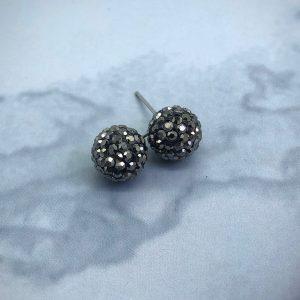 Crystal Ball 10mm Earrings Jet Hematite