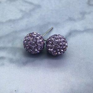 Crystal Ball 10mm Earrings Violet