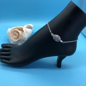 Chain Anklet With Grey Jasper Stone
