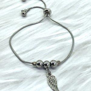 Slide Bracelet Silver Angel Wing