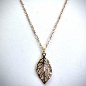 Golden Vein Leaf Necklace