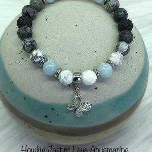 Howlite, Aquamarine, Jasper And Lava Bracelet With Butterfly Charm