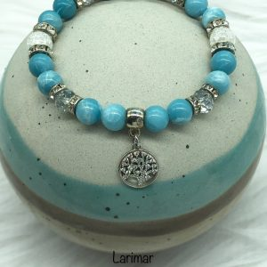 Larimar And Cracked Crystal Bracelet With Tree of Life Charm