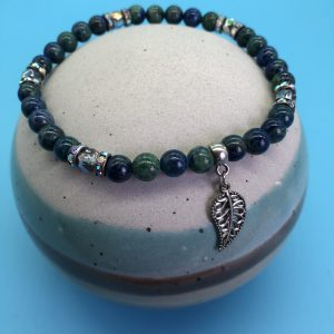 Azurite Anklet With Leaf Charm