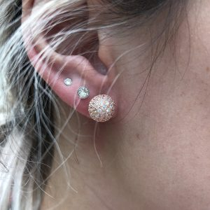 Pave Ball 10mm Earrings Rose Gold