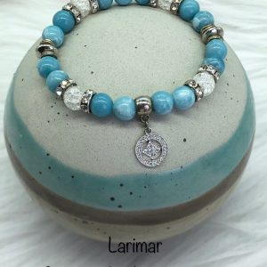 Larimar And Cracked Crystal Bracelet With Silver Charm
