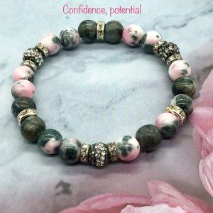 Jade And Labradorite Bracelet With Crystal Ball
