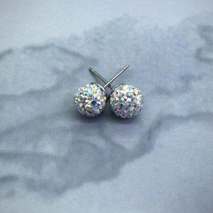 Crystal Ball 8mm Earrings AB
