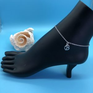 Chain Anklet With Silver Initial Charm
