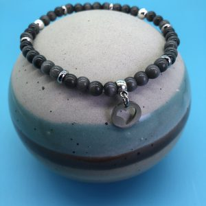 Grey Cats Eye Anklet With Tree Of Life Charm