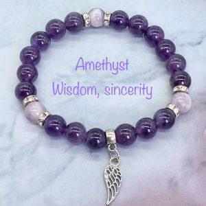 Amethyst Bracelet With Leaf Charm