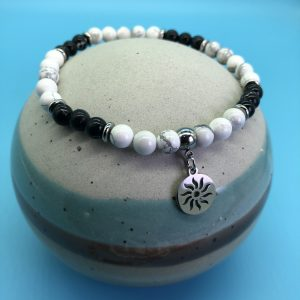 Black and White Howlite Anklet With Sun Charm