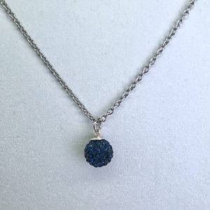 Crystal Ball Crystal Necklace Montana Blue