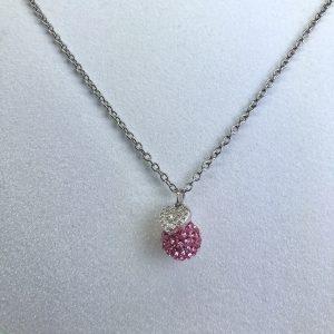 Crystal Ball Crystal Necklace Light Rose