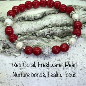 Red Coral And Fresh Water Pearl Bracelet With Crystal Ball