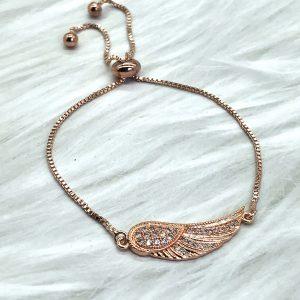 Slide Bracelet Rose Gold Angel Wing