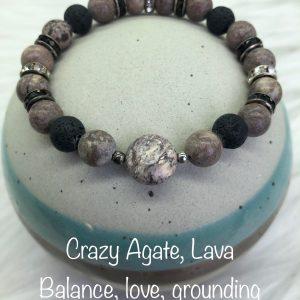 Crazy Agate and Lava Diffuser Bracelet