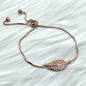 Slide Bracelet Rose Gold Leaf
