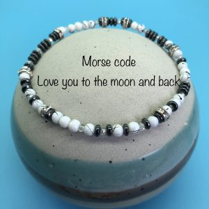 Morse Code Anklet 'Love You To The Moon And Back'